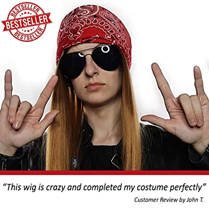 90s Rocker Costume Wig 3pc Set + Bandana + Sunglasses Mens 80s Rockstar Wigs