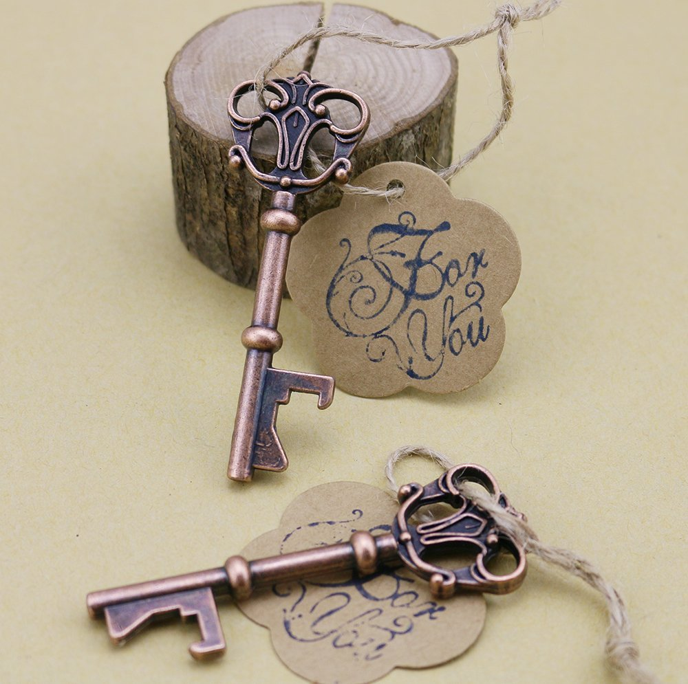 50pcs Wedding Favors Skeleton Key Bottle Opener with Escort Tag Card For You Stamp