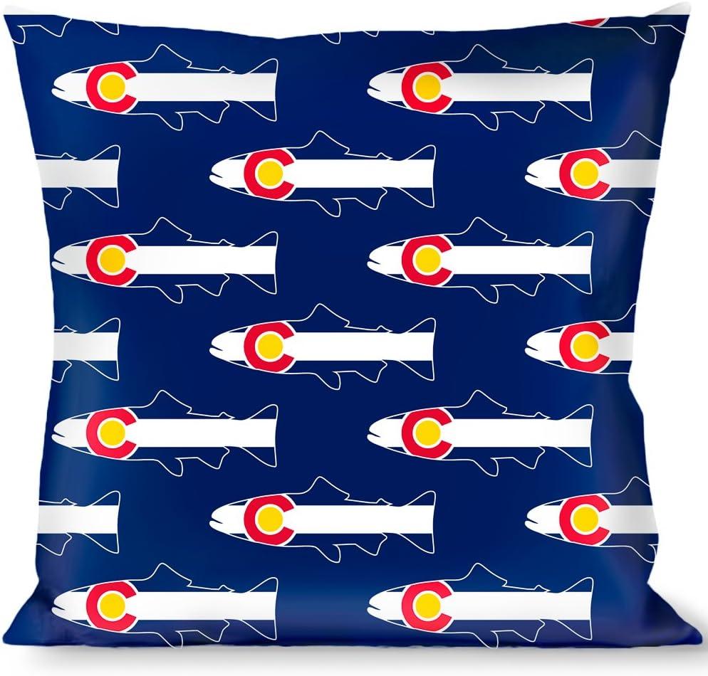 Pillow Decorative Throw Colorado Trout Flag Snowy Mountains Blues White Red Yellow