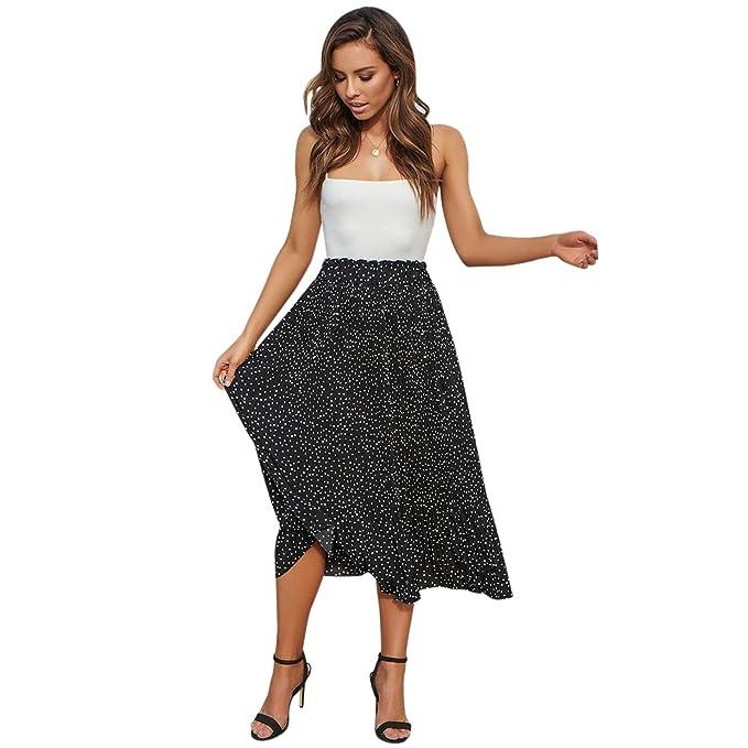 e27ad0d27 Cikuso Falda Midi Plisada de Lunares de Cintura Alta de Mujer Faldas ...