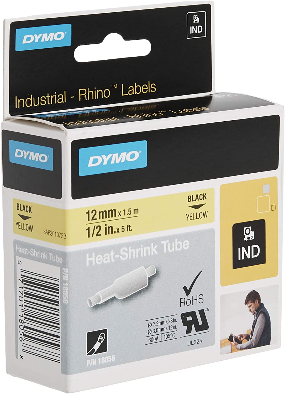 """Details about  /1-20X Heat Shrink Tube Wire Label Black on Yellow 18054 For Dymo RHINO 4200 3//8/"""""""