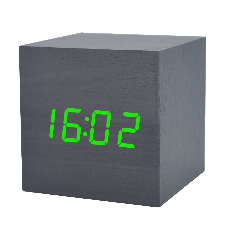 Amazon com wooden alarm clock led electronic digital calendar desktop cube mute temperature time date home bedroom bedside clock with sound control
