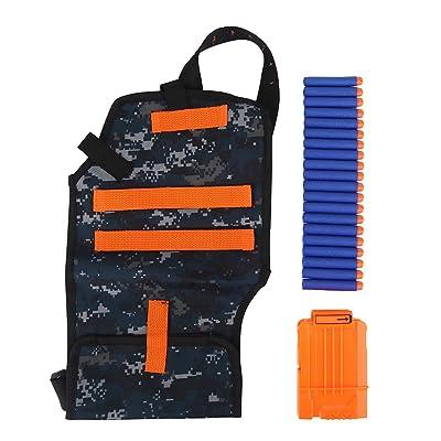 Target Tactical Belt,Pouch Storage Bag Backpack for nerf, Toy Gun Adjustable Belt Soft EVA Bullet Cartridge Holder Clip Kit - 1 Foam Bullet Clip + 20 Bullets for Nerf Toy Gun Kids Children: Sports & Outdoors