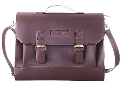 c4662a2bcf345 JAKAGO männer frauen Leder Aktentasche Satchel Schultasche Business Laptop-tasche  Crossbody Umhängetasche Messenger Bags (