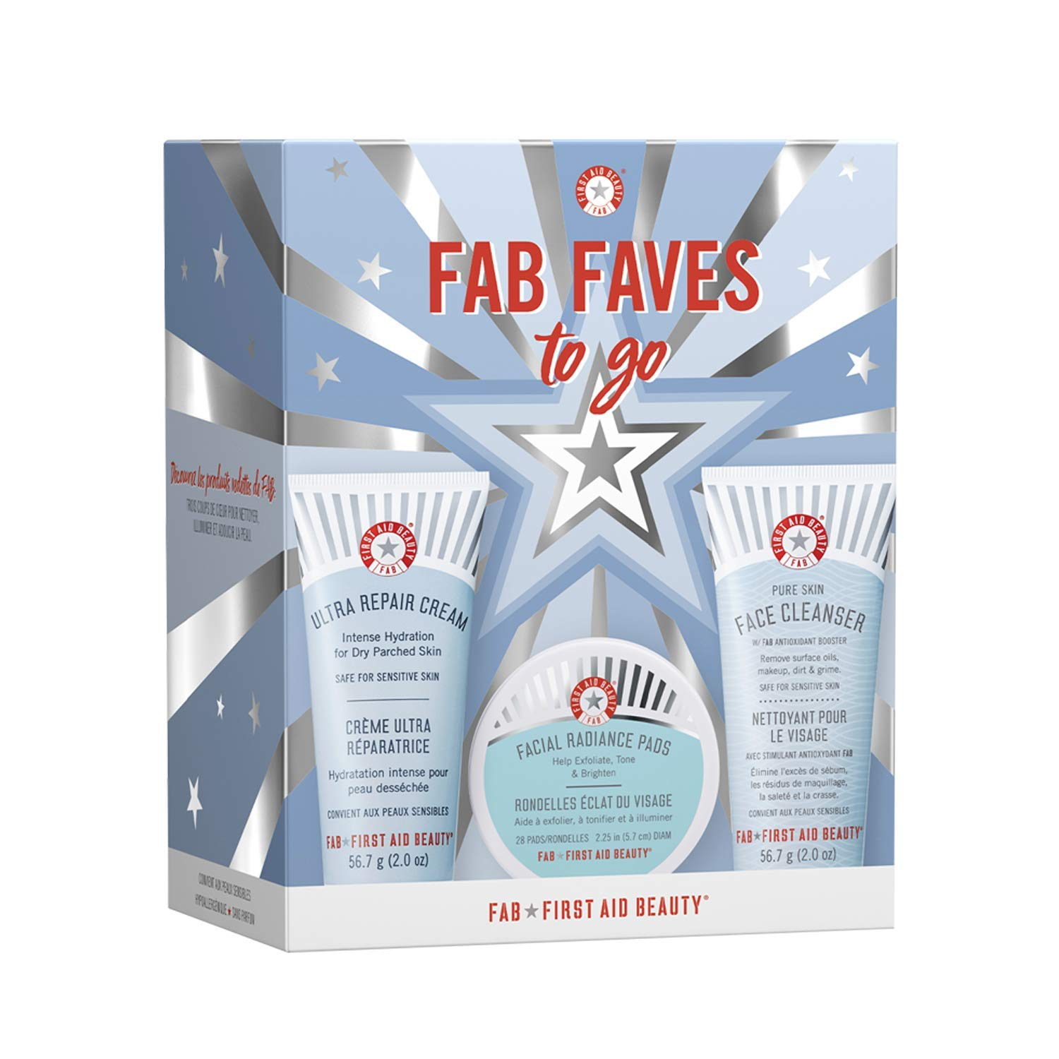 First Aid Beauty FAB Faves to Go Kit: Travel Size Face Cleanser, Exfoliator Pads and Moisturizer