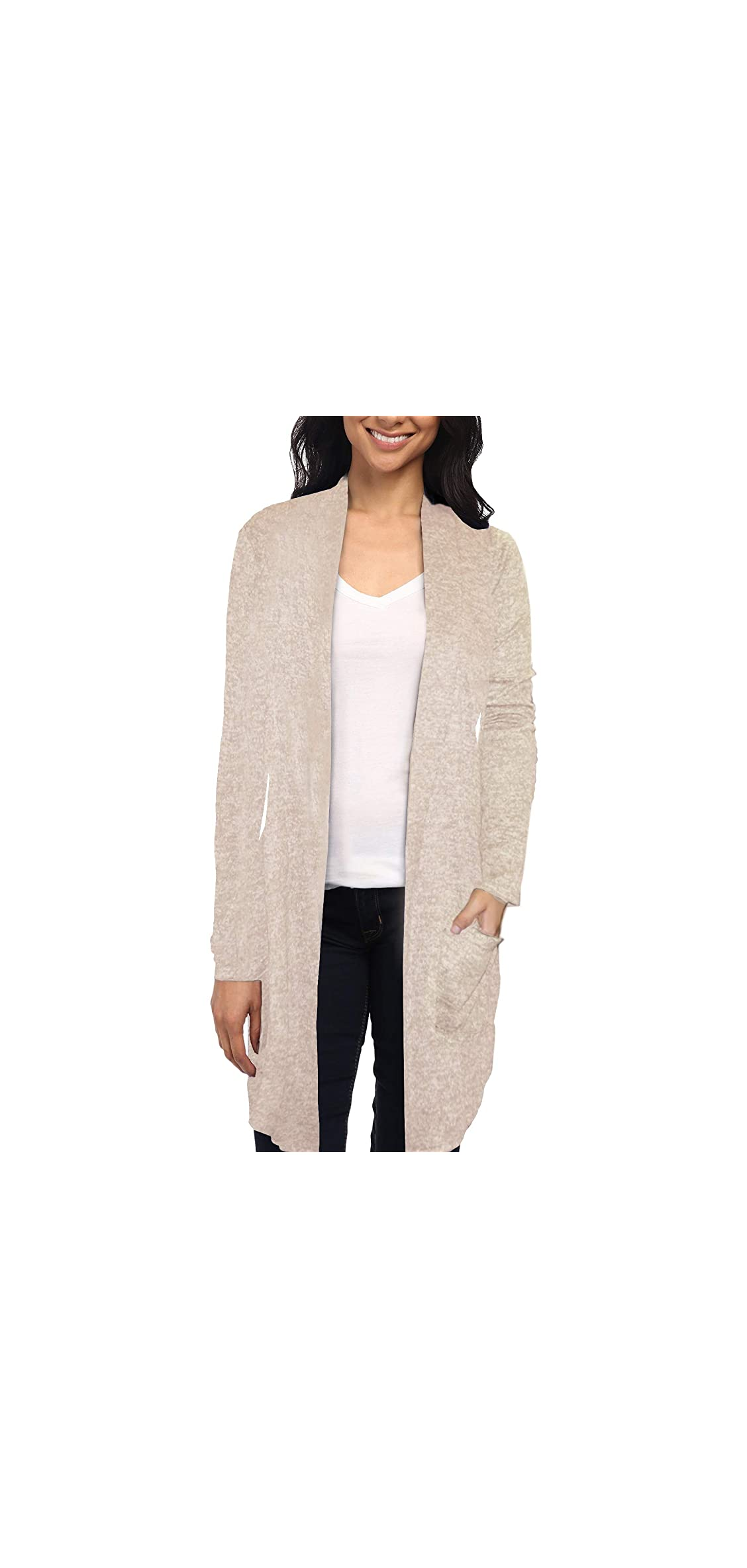 Womens Lightweight Casual Open Front Drape Long Cardigan With