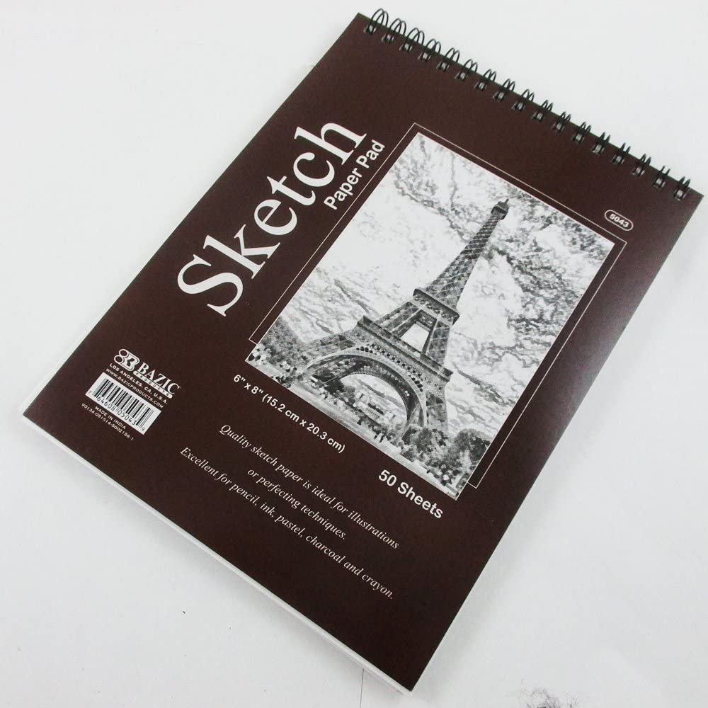 "3 Pcs 50 sheets 6/"" x 8/"" Top Bound Spiral Premium Quality Sketch Book Paper Pad"