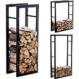 CLP Firewood rack KERI V3, log holder in black matte metal, 8 sizes available 25 x 40 x 150 cm