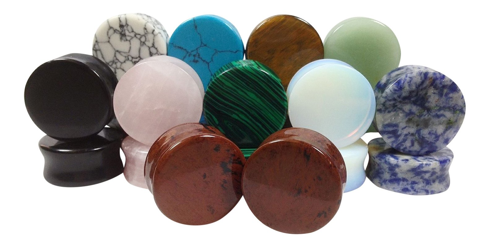 -ALL 10 PAIR- Stone Plugs Organic Double Flare Ear Gauges Body Jewelry (lot 1) (25mm (1''))