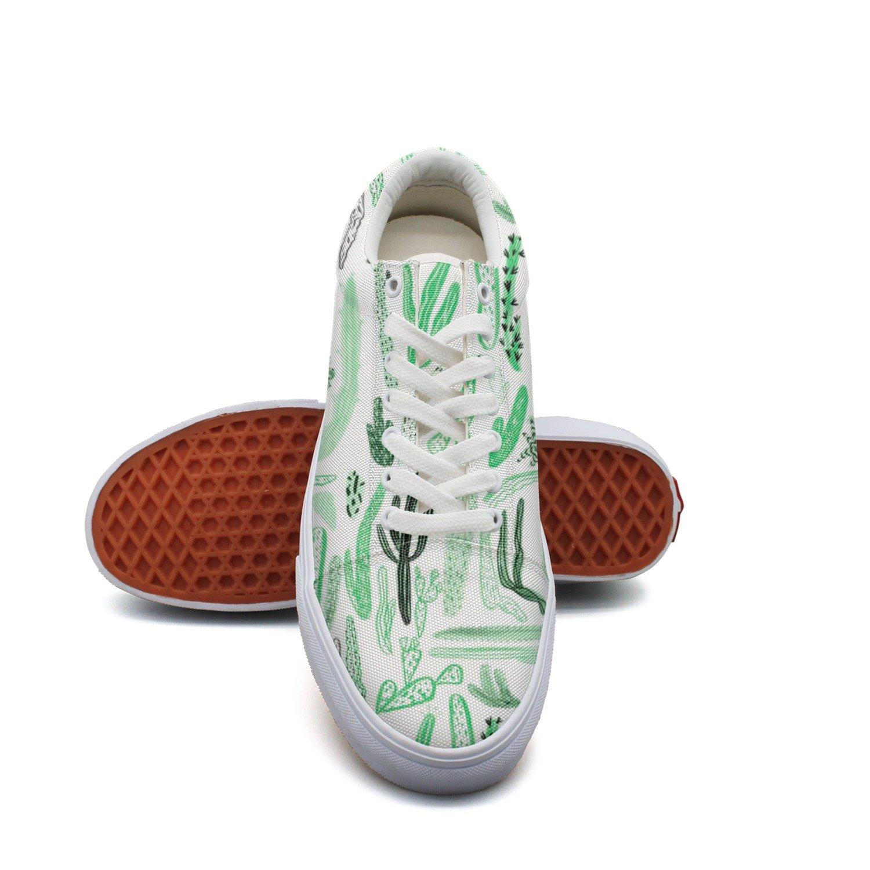 Ouxioaz Womens Lace-up Shoe Cacti Cactus Painting Casual Canvas Shoes