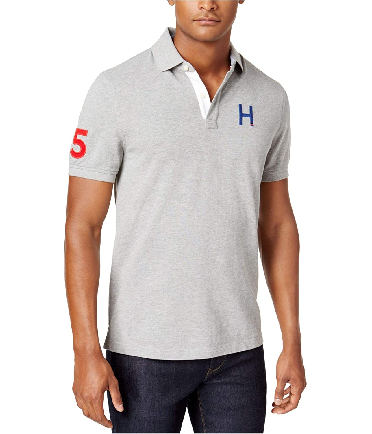 Tommy Hilfiger Mens Sporty Embroidered Rugby Polo Shirt Grey Xs At