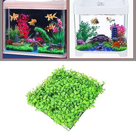 Amesii - Planta de plástico para Acuario, Diseño de Césped Artificial, Color Verde