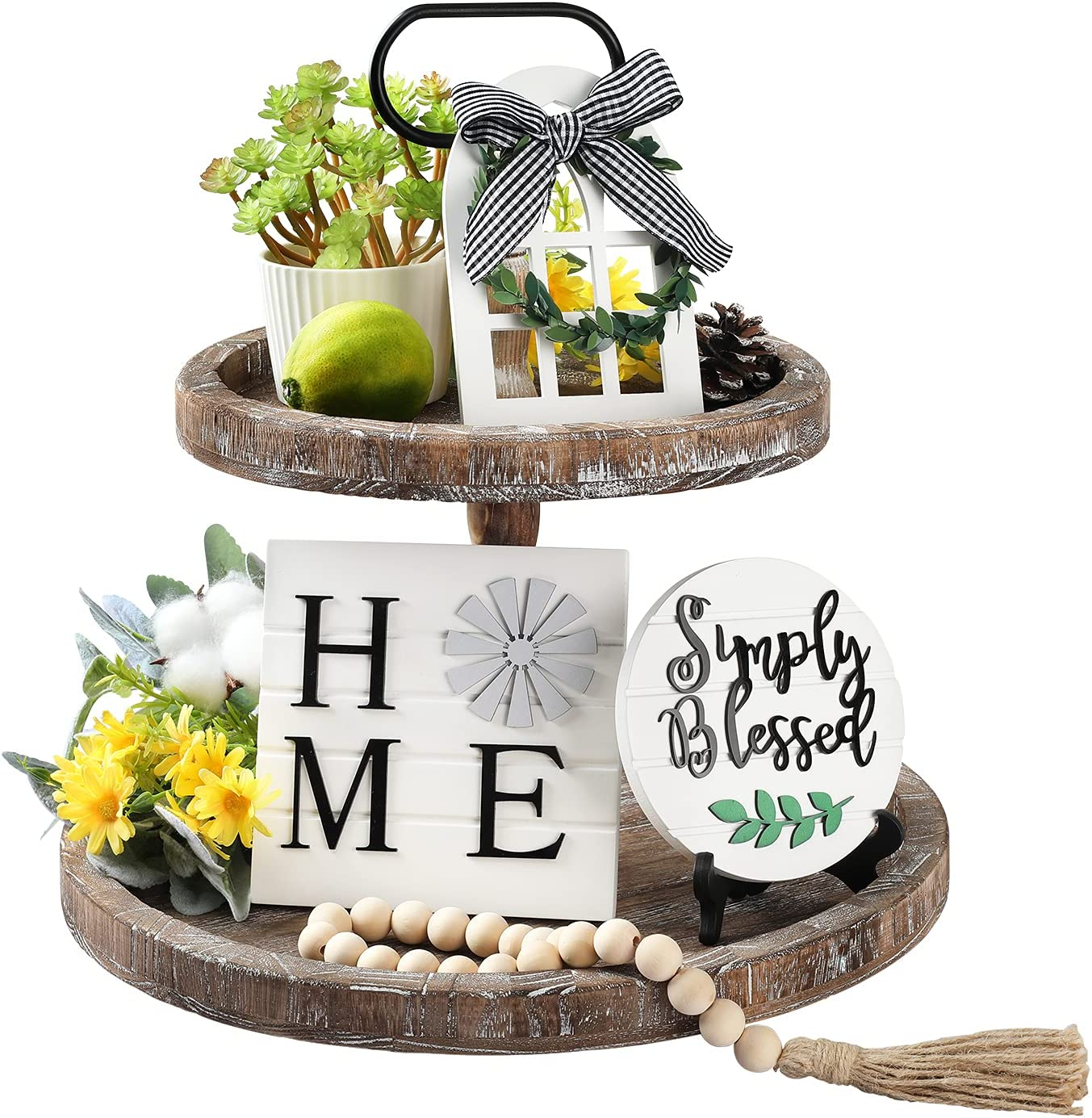 LIBWYS 4 Pcs Farmhouse Decors for Tiered Tray Farmhouse Home Decor Mini Signs Simply Blessed Home Windmill Wooden Beads Garland Rustic Kitchen Decor