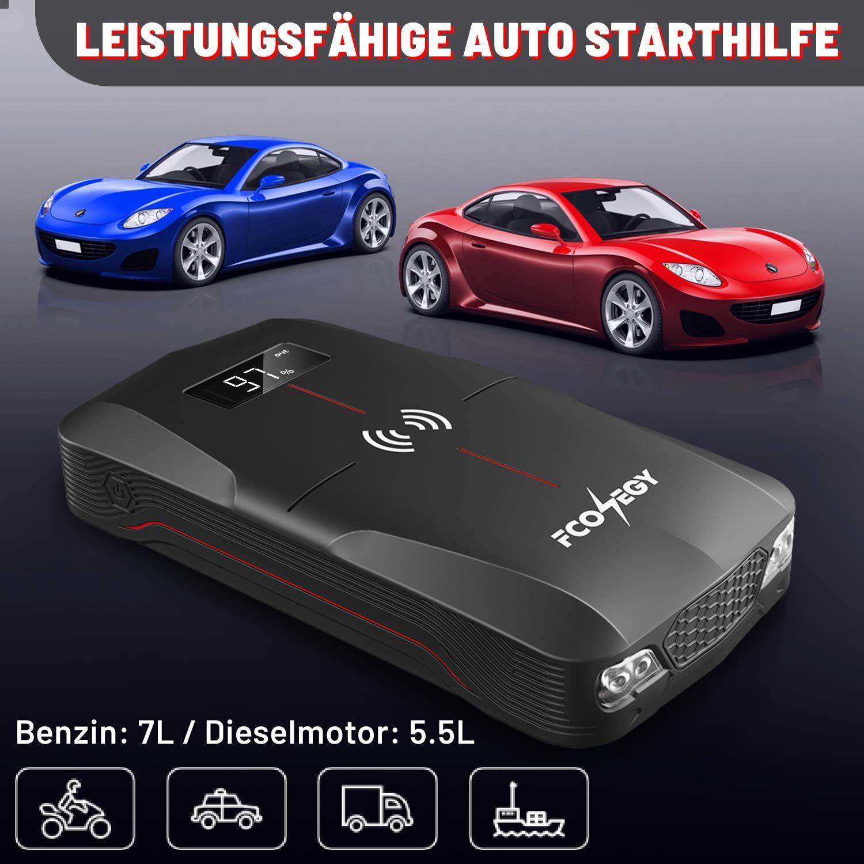 Starthilfeger/ät LED FCOENGY Starthilfe Powerbank 1600A 16000mAh Auto Starthilfe mit 10W Wireless Charger QC3.0 Bis zu 7.5 L Benzin oder 5.5 L Diesel EC5 Zigarettenanz/ünder Adapter und USB-Kabel.