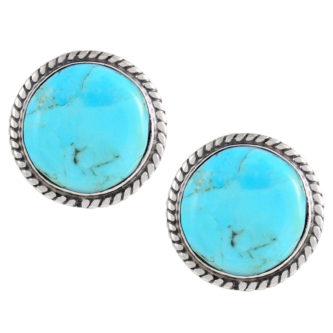 Turquoise Earrings 925 Sterling Silver & Genuine Turquoise (Round)