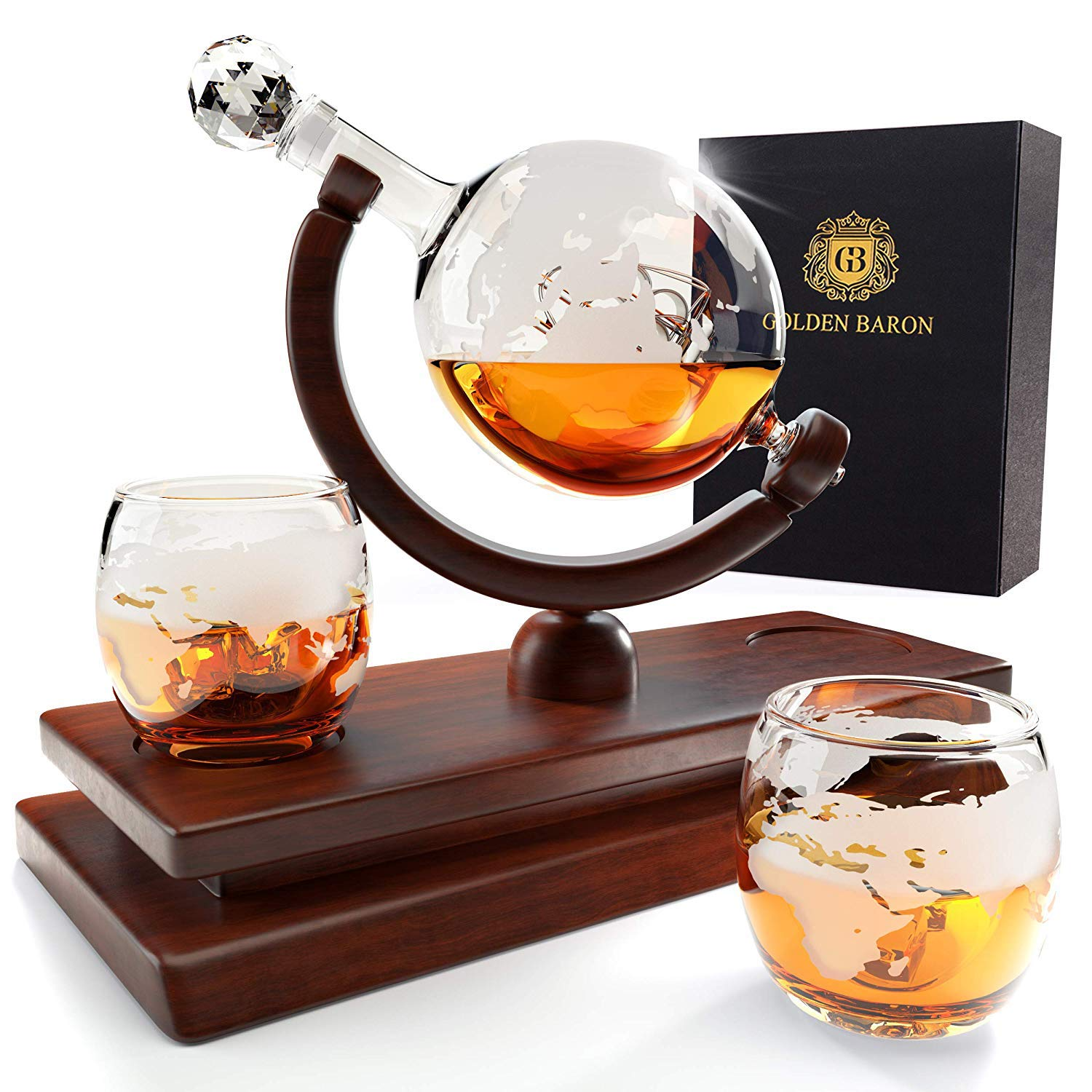Globe Whiskey Decanter and Glass Set - Double Thickness Glass and Crystal Stopper - Liquor Decanter and Dispenser by Golden Baron (Image #1)