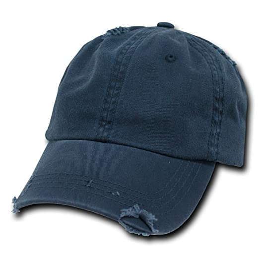 17568ddc98b Image Unavailable. Image not available for. Color  Navy Blue Vintage  Distressed Polo Style Unstructured Low-Profile Baseball Cap Hat