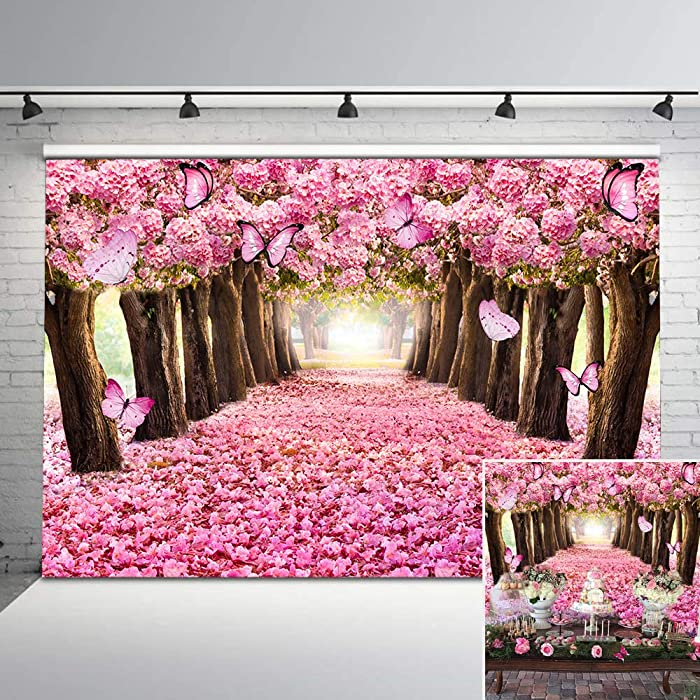 Mehofoto Pink Flower Trees Backdrop Romantic Flower Butterfly Photography Backdrops 7x5ft Enchanted Forest Backdrop for Birthday Party Photo Studio Props