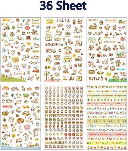 6Sheets Cartoon Cute Girl Diary Planner Stickers Decorations Scrapbook Calendar