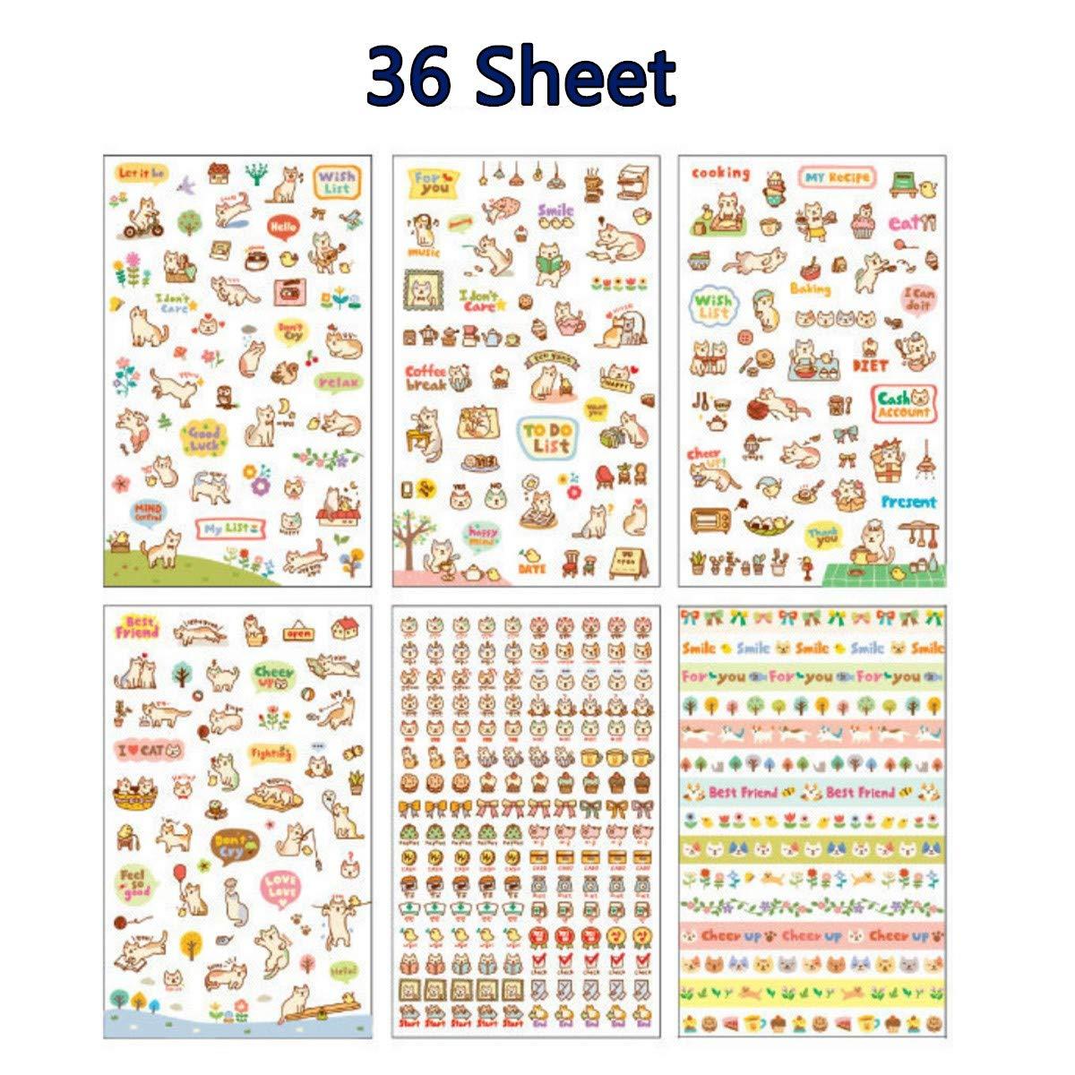 36シート かわいい猫 透明カレンダー 日記帳 ステッカー スクラップブック プランナーデコレーション プランナーステッカー バリューパック B07GPTGWNF