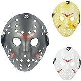 IronBuddy 3Pcs Jason Hockey Mask Costume Mask Prop for Cosplay Masquerade Party Halloween Decorations Dress Up