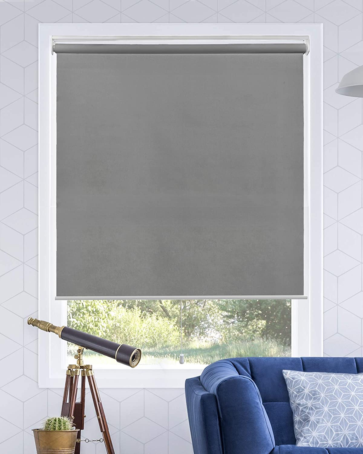 """CHICOLOGY Cordless Roller Shades Snap-N'-Glide Window Treatments Perfect for Living Room/Bedroom/Nursery/Office and More, 69"""" W X 72"""" H, Urban Grey (Light Filtering)"""