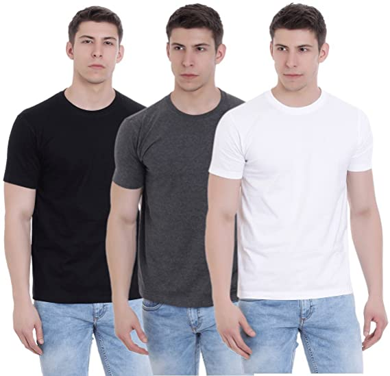 fb62a896b962 FAB69 Solid Men's Round Neck Half Sleeve Cotton Plain Black/Charcoal Melange /White T-Shirt (Combo Pack of 3) - Leather Patch - Bottom Hem: Amazon.in:  ...