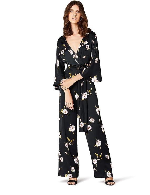 TRUTH & FABLE Maxi Tuta Kimono a Fiori Donna, Nero (Black Black), 42 (Taglia Produttore: Small)