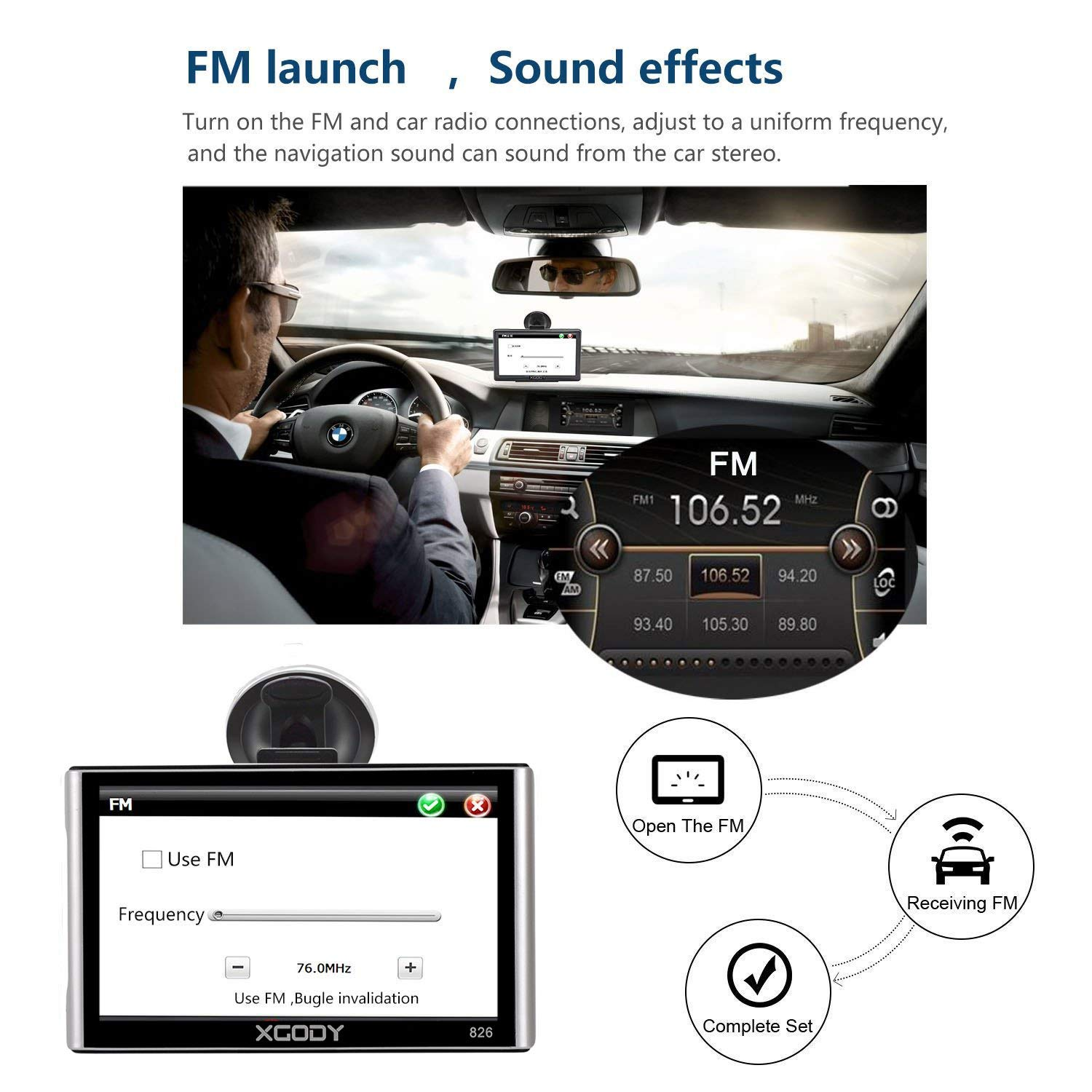 Xgody 826BT Car GPS Navigation with 6 Meters Backup Camera 7'' 256MB/8GB Sunshade Capacitive Touch Screen Trucking GPS NAV Lifetime Map Updates Speed Limit Displays Spoken Turn-by-Turn Directions by XGODY (Image #8)