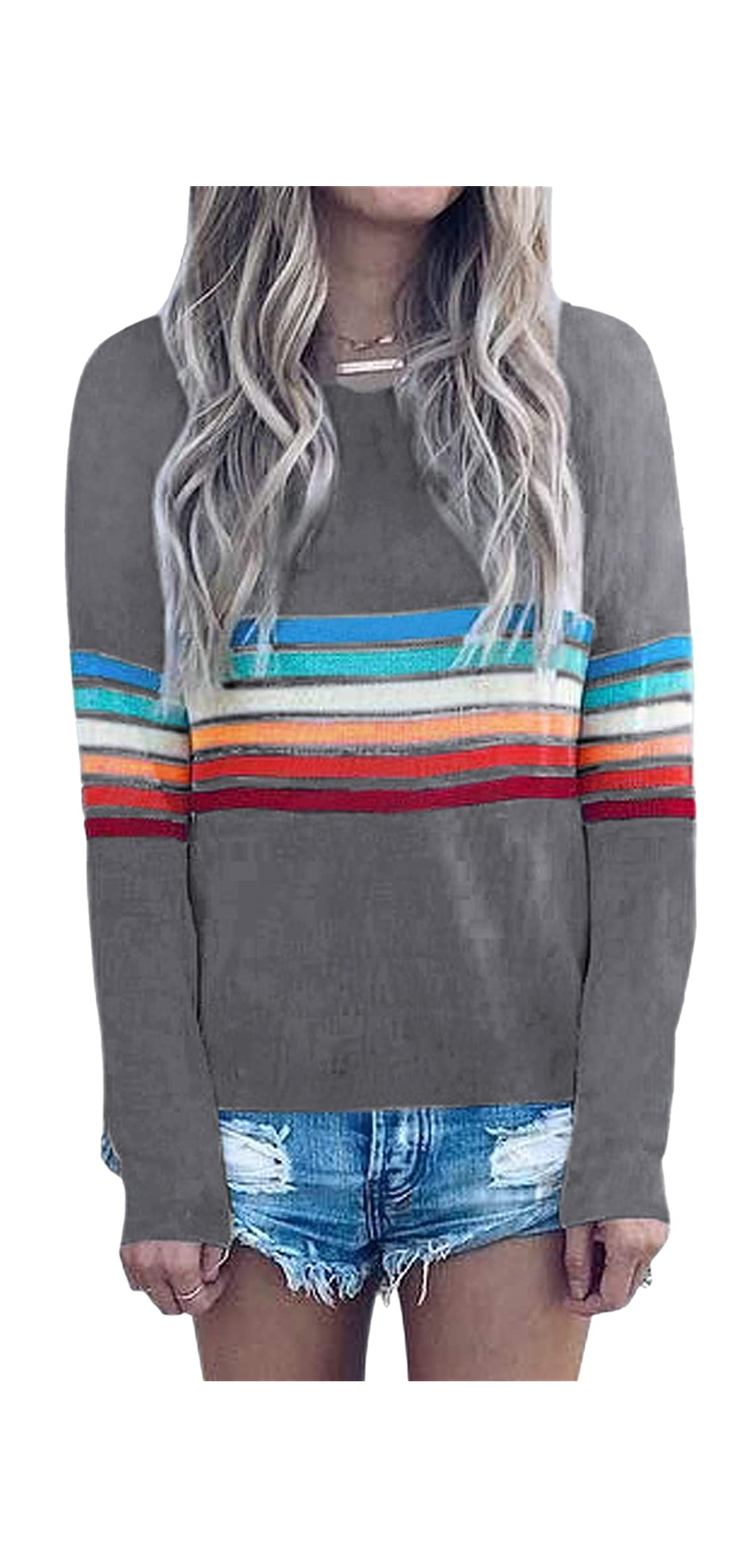 Women's Sweater Rainbow Colorful Striped Sweaters Long