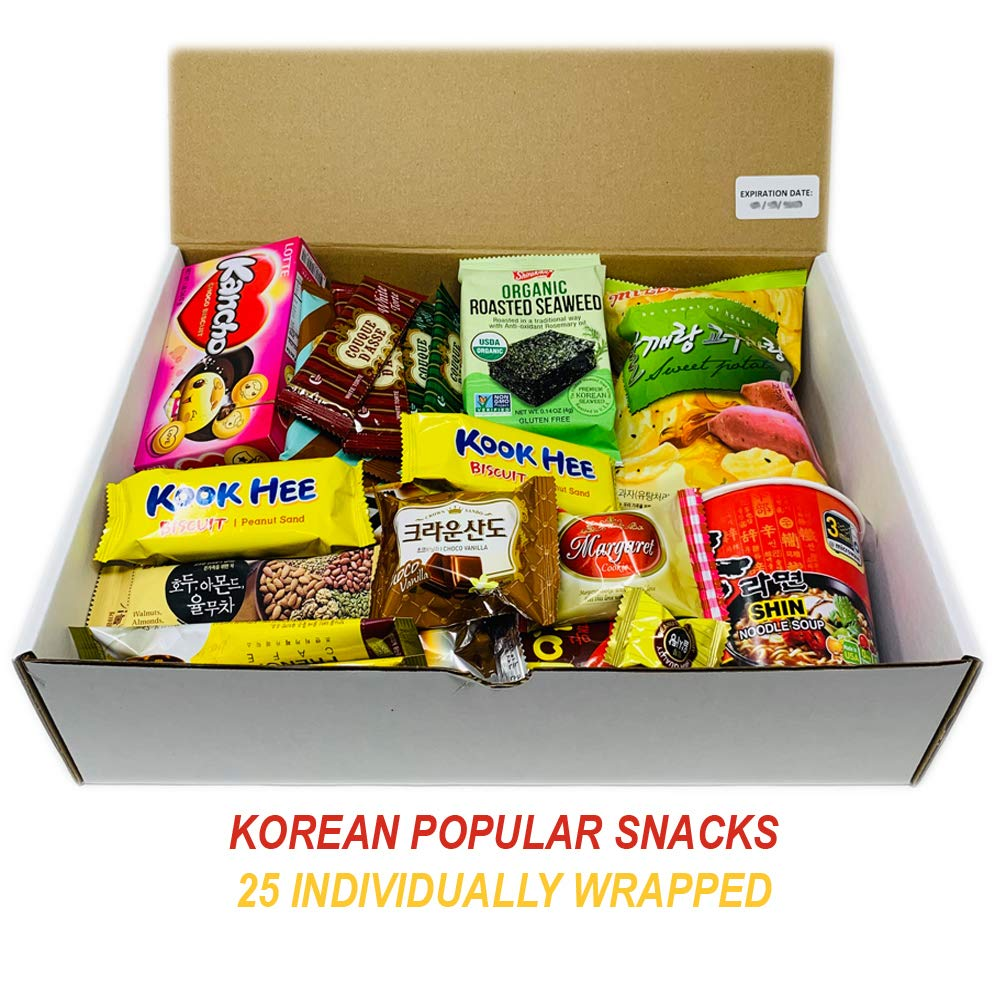 DANKONG Korean Snack Box - 25 Count of Variety Assorted Individual Wrapped Essentials Sample Packs of Candy, Snacks, Chips, Ramen, Cookies, Treats for Men, Women, Kids, Children, College Students by DANKONG (Image #3)
