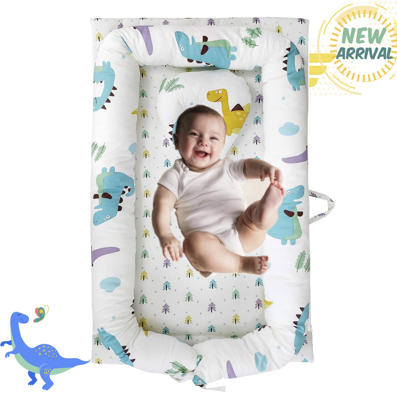 Brandream Baby Nest Bed, Dinosaur Baby Lounger, Portable Newborn Bassinet Crib for Travel/Bedroom Perfect for Co-Sleeping (Dinosaur) 100% Cotton Breathable & Hypoallergenic, Navy/White by Brandream