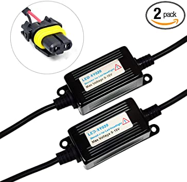 SOCAL-LED 2x HB4 9006 LED Decoder Upgraded Strong Canbus Error Code Warning Canceller Anti Flicker Relay Adapter fits: 9005, 9012, 9145, H10