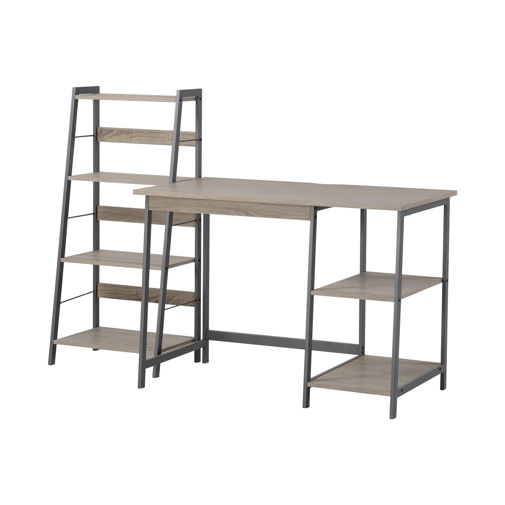 HOMESTAR 2 Piece Laptop Desk & 4-Shelf Bookcase Set, 43'' x 23.6'' x 47''/20'' x 14'' x 44'', Reclaimed Wood by HOMESTAR