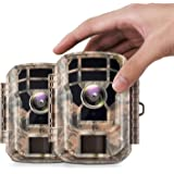 【2 Pack 】 Campark Mini Trail Camera 16MP 1080P HD Game Camera Waterproof Wildlife Scouting Hunting Cam with 120° Wide…