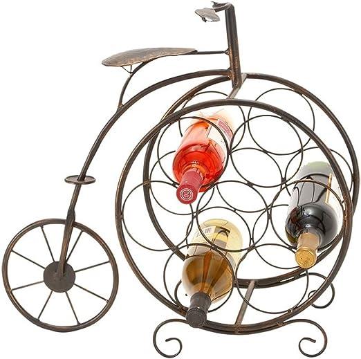 JM Vino Rack de Almacenamiento 7 Botella Holder w/Metal Bicicleta ...