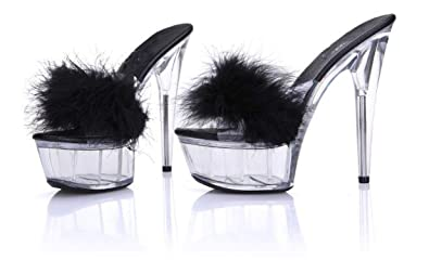 a69ebbc07ce Amazon.com | GEKX Models Transparent Crystal 15cm Super High Heels ...