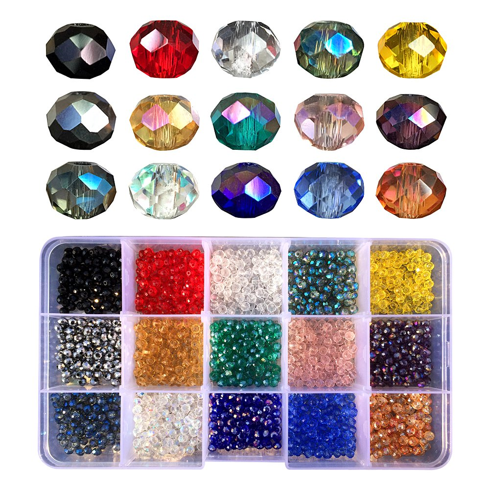 Chengmu 4mm 1500pcs Bicone Glass Beads for Jewelry Making Faceted Shape Multicolor AB Colour Crystal Spacer Beads Assortments Supplies for Bracelets Necklaces with Elastic Cord Storage Box