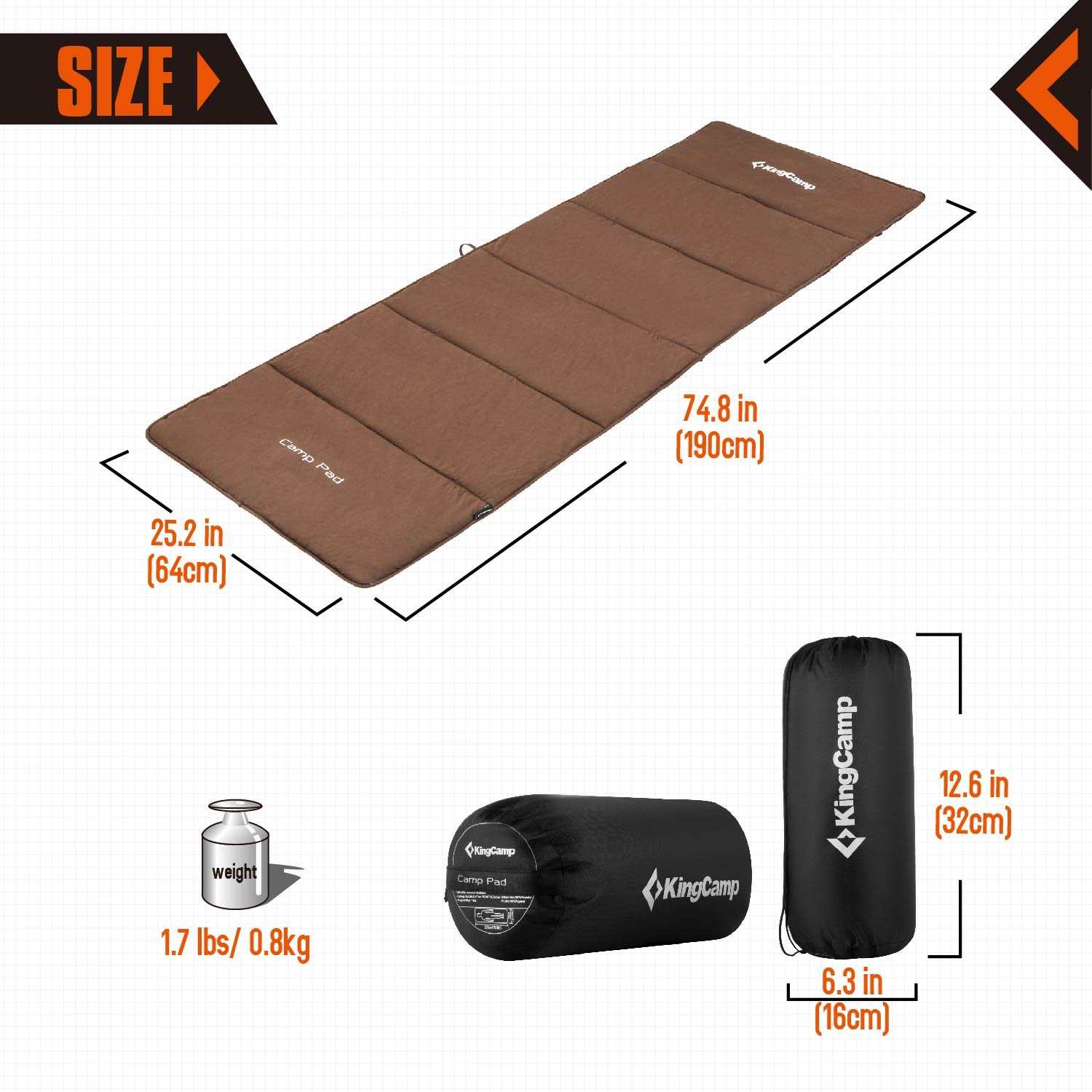 KingCamp Soft Cotton Sports Camping Sleeping Pad Mat, Pefect for Camp Cot Bed, Two Sizes (Normal (74.8\