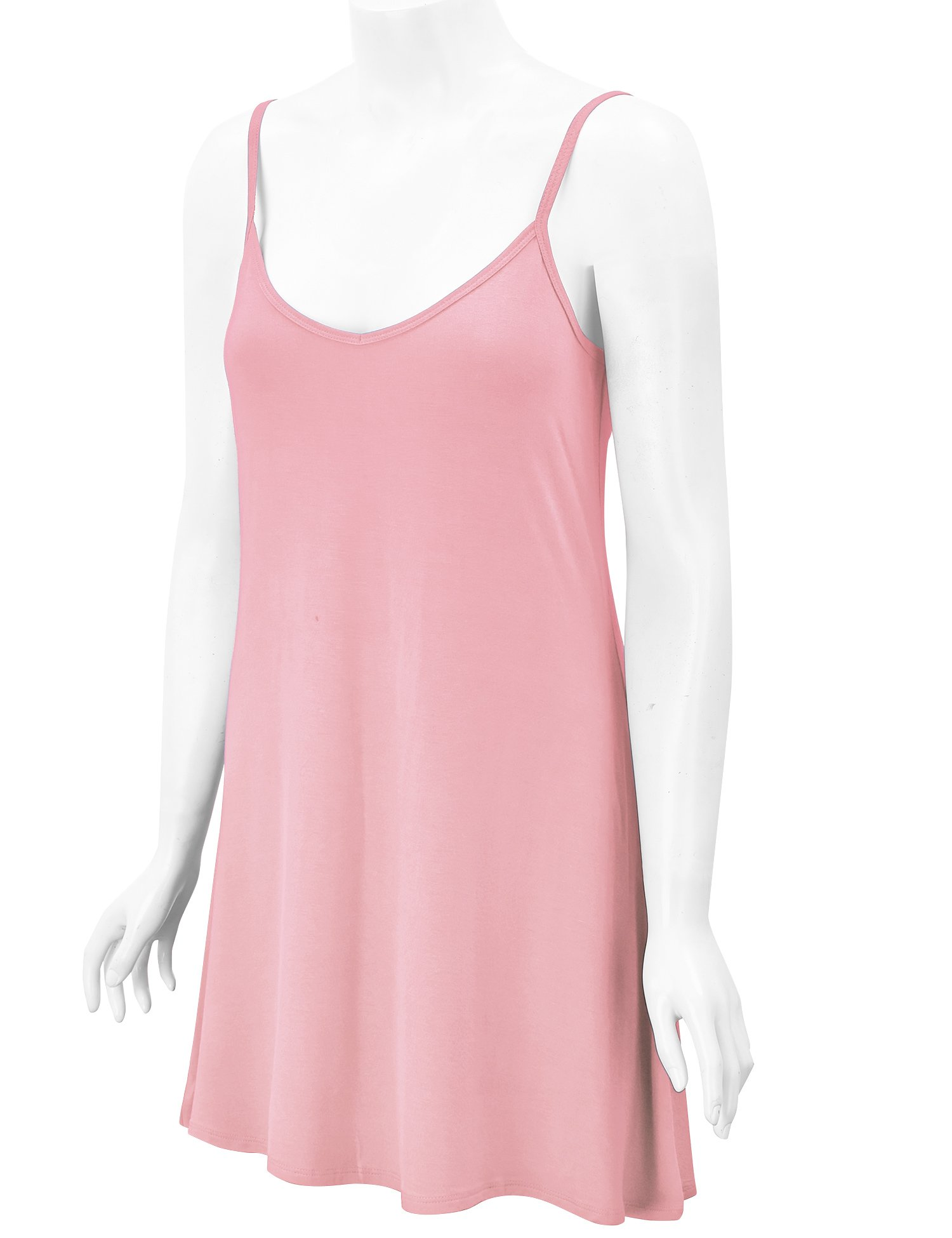 WDR1090 Womens V Neck Spaghetti Strap Tunic Short Dress S Pink by Lock and Love (Image #5)