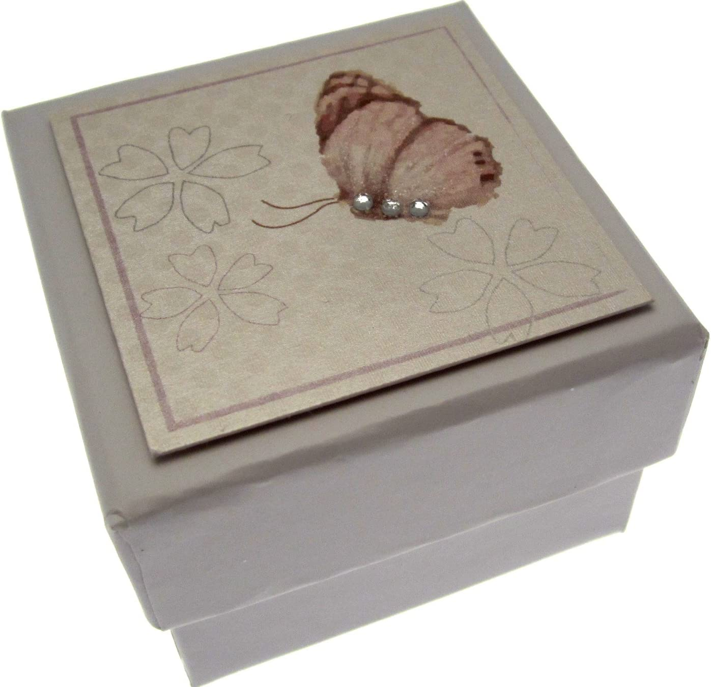 Code BX25 WHITE COTTON CARDS Butterfly Party//Gift//Favour Solid Box 5.5cm x 5.5cm