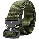 HOTSO 2 Pack Nylon Cinturón Táctico, Pretina Militar al Aire Libre 130cm Longitud Lona Transpirable Ceñidor para Hombre y Mujer Cintura con Hebillas de Metal