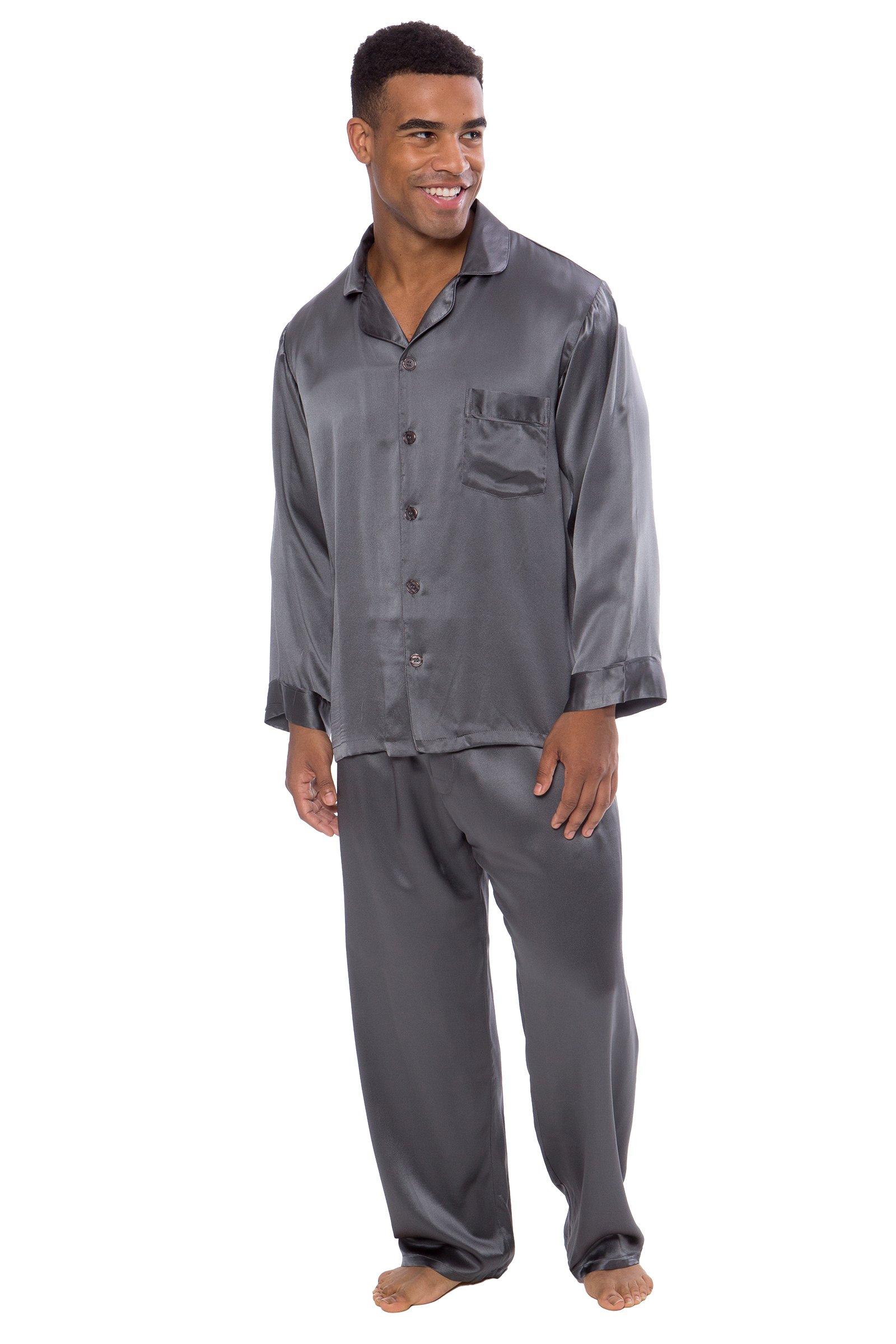 TexereSilk Men's 100% Silk Pajama Set - Luxury Nightwear Pajamas (Milaroma, Zinc, Large/Tall) Popular Gifts For Dad Husband Son MS0001-ZNC-LT