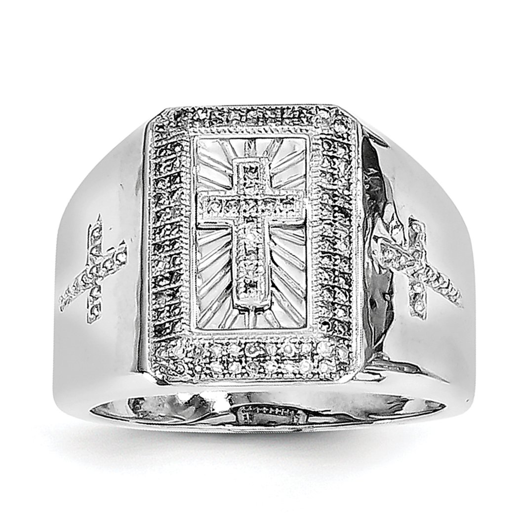 ICE CARATS 925 Sterling Silver Diamond Cross Religious Mens Band Ring Size 9.00 Man Fine Jewelry Dad Mens Gift Set