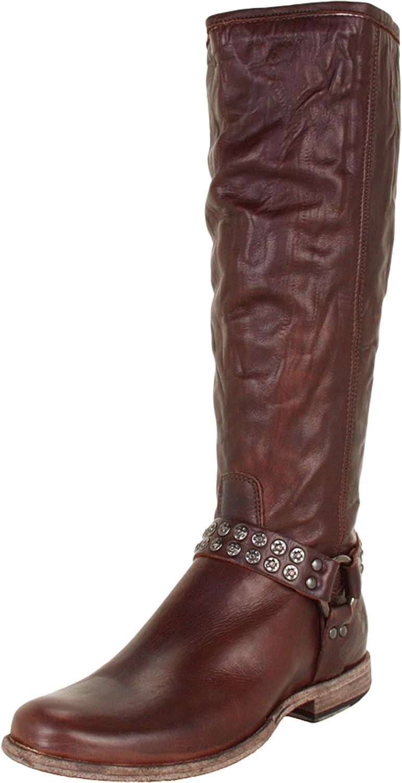 FRYE Women's Phillip Studded Harness Tall Boot B006NZFY5M 7 B(M) US|Dark Brown Soft Vintage Leather