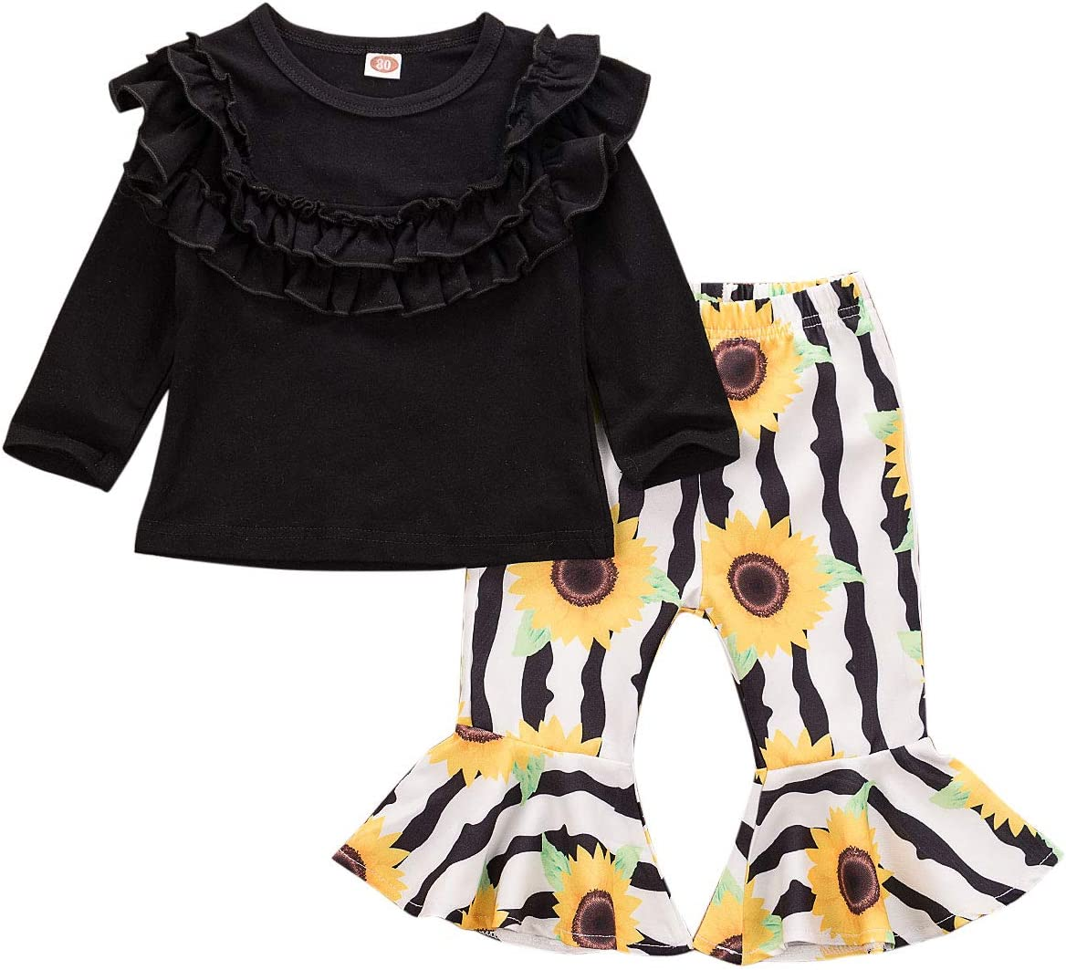 Newborn Boy Girl Solid Colors Clothes Pants Set Baby Kids Long Sleeve Tops Sweatsuit Set