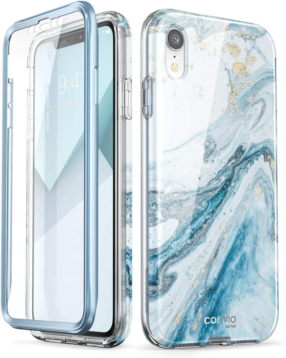 i-Blason Cosmo Full-Body Bumper Case for iPhone XR 2018 Release, Blue Marble, 6.1""