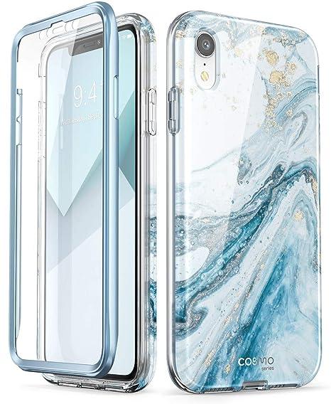 I Phone Xr Case, [Built In Screen Protector] I Blason [Cosmo] Full Body Glitter Bumper Case For I Phone Xr 6.1 Inch 2018 Release (Blue) by I Blason