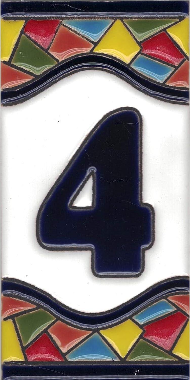 Números casa exterior - Placa Puerta - Cerámica esmaltada - Pintados a Mano con la técnica de la cuerda seca - Nombres y direcciones - Modelo Grande Mosaico 7,5 cms x 15 cms (Número Cuatro