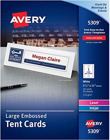 Amazon Com Avery Printable Large Tent Cards Laser Inkjet Printers 50 Cards 3 5 X 11 5309 White Blank Tent Cards Office Products